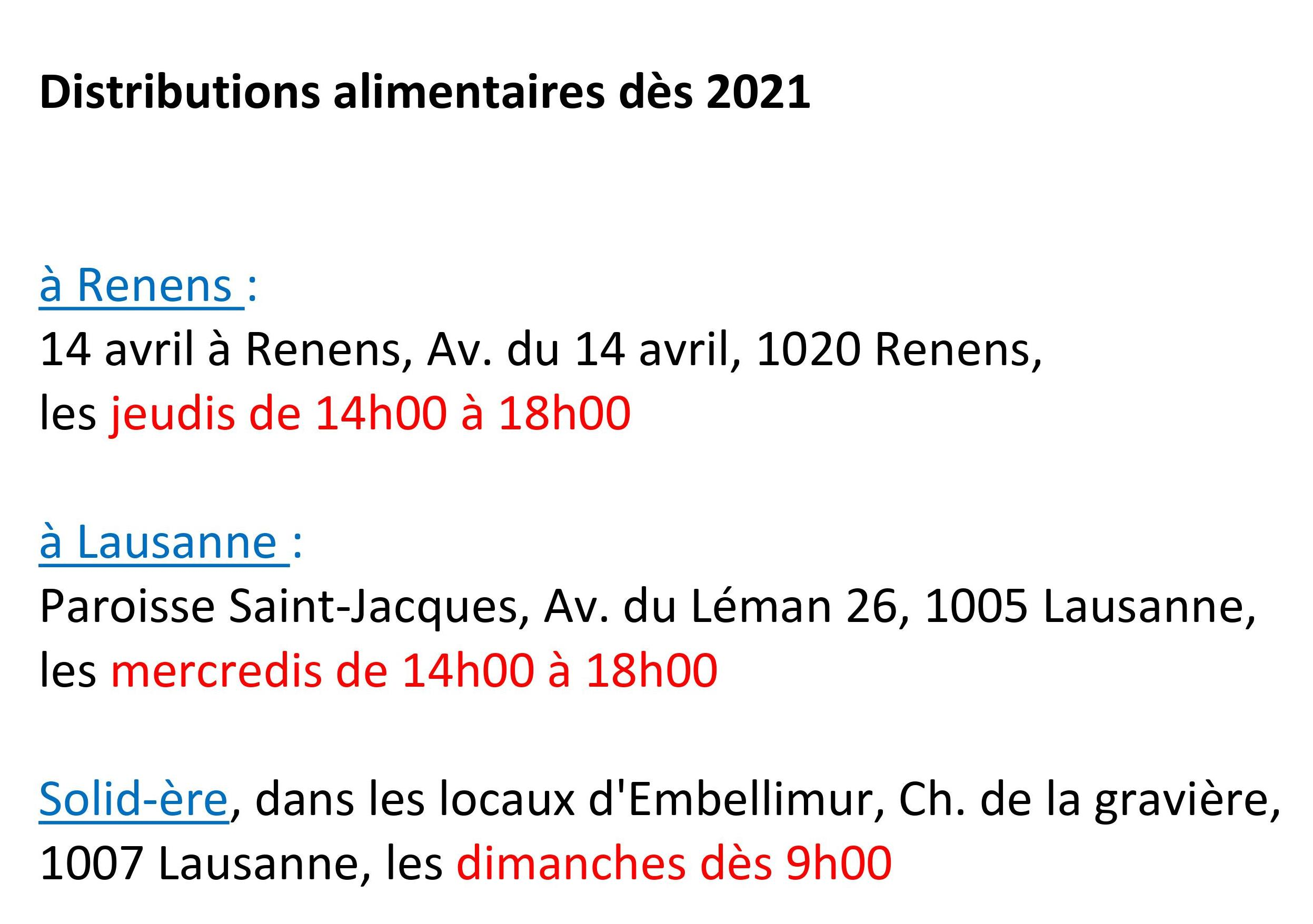 2021 Distributions alimentaires